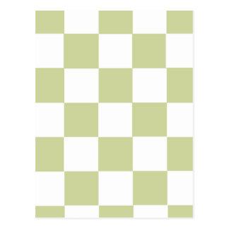 Checkered Pale Green Postcard