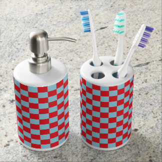 Checkered Pastel Blue and Red Soap Dispenser And Toothbrush Holder