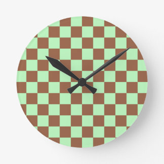 Checkered Pastel Green and Brown Round Clock