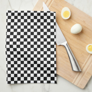 Checkered Pattern Black and White Tea Towel