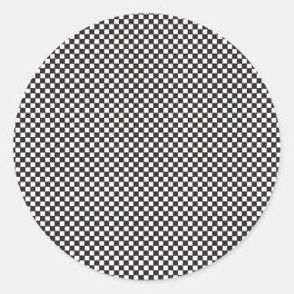 Checkered Pattern Round Sticker