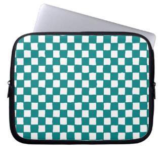 checkered pattern teal laptop sleeve
