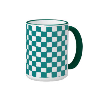 checkered pattern (teal) coffee mugs