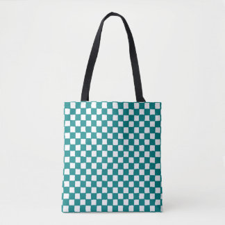 checkered pattern (teal) tote bag