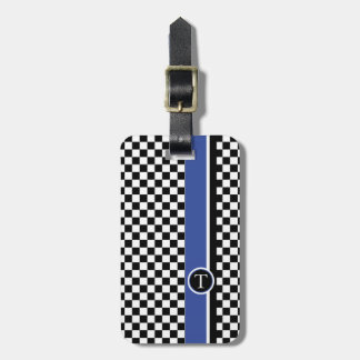 checkered pattern with blue stripe luggage tag