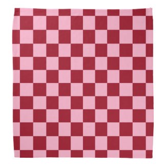 Checkered Pink and Burgundy Bandana