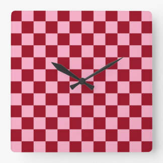 Checkered Pink and Burgundy Square Wall Clock