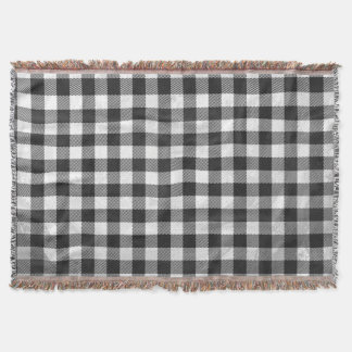 Checkered Plaid Black And White Throw Blanket