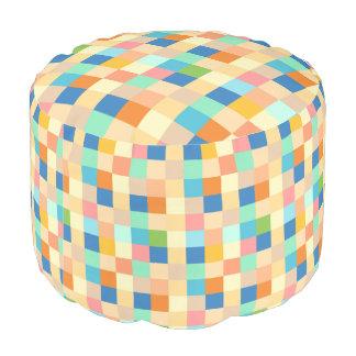 Checkered Print Square Pattern Multicolor Bright S Pouf