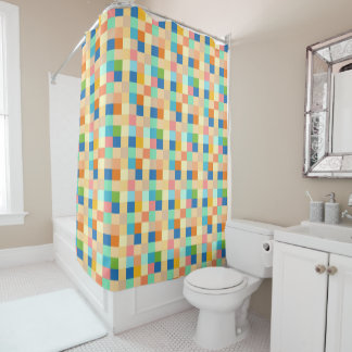 Checkered Print Square Pattern Multicolor Bright Shower Curtain