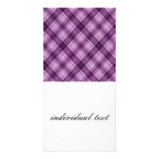 checkered, purple photo card