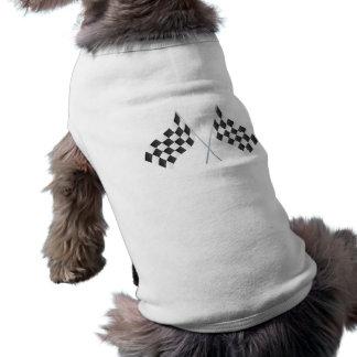 checkered racing flags graphic sleeveless dog shirt