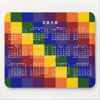 Checkered Rainbow 2018 Calendar Mouse Pad