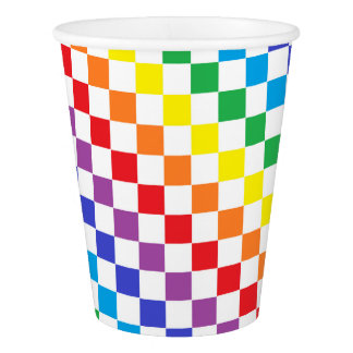 Checkered Rainbow Paper Cup