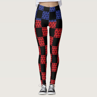 Checkered Red and Blue on Goth Line Pattern! Leggings
