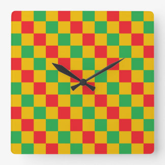 Checkered Red, Green and Gold Square Wall Clock