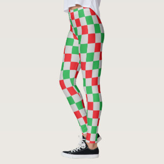 Checkered Red, Green and Silver Leggings