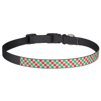Checkered Red, Green and Silver Pet Collar