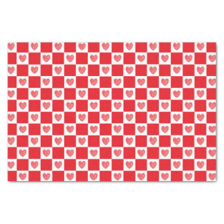Checkered Red Hearts Tissue Paper