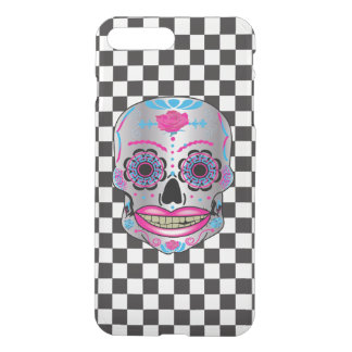 Checkered Rose Candy Skull Iphone Case