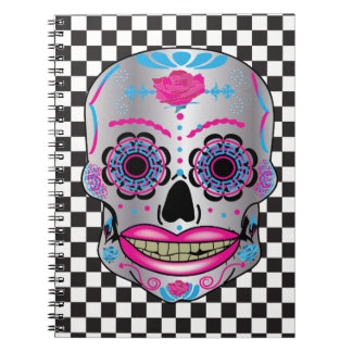 Checkered Rose Candy Skull Notebook
