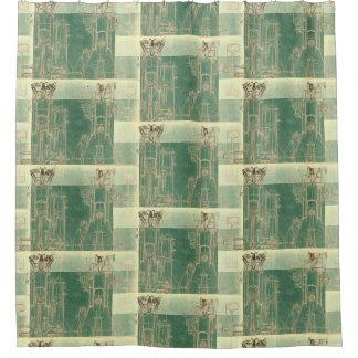 CHecKeRed SchEmaTic bluePrinT SePia ViNtaGe EnGinE Shower Curtain