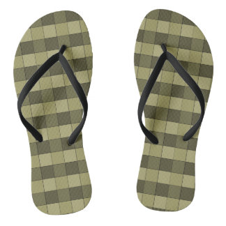 Checkered Shades of Khaki Squares Pattern Thongs