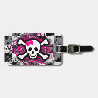 Checkered Skull With Hot Pink Splatter Luggage Tag