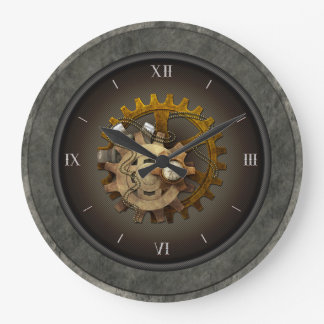 Checkered SteamPunk Large Clock