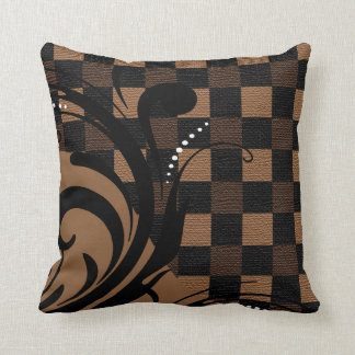 Checkered Swirly Pattern | Brown, Tan, Black Cushion