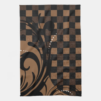 Checkered Swirly Pattern | Brown, Tan, Black Tea Towel