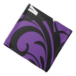 Checkered Swirly Pattern   Purple, White, Black Bandana