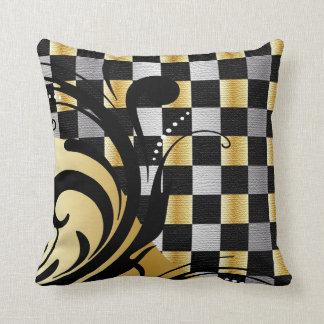 Checkered Swirly Pattern | Silver, Gold, Black Cushion