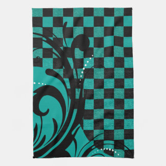 Checkered Swirly Pattern | Teal Blue, Black Tea Towel