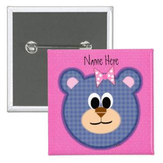 Checkered Teddy Bear 15 Cm Square Badge