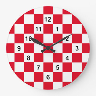 Checkered Time...with your colors. Large Clock