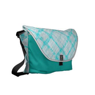 checkered turquoise,Medium Messenger Bag