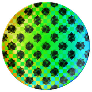 Checkered Wheels by Kenneth Yoncich Porcelain Plate