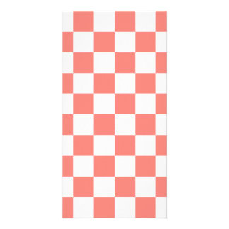 Checkered - White and Coral Pink Customized Photo Card