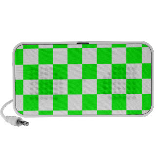 Checkered - White and Electric Green Travelling Speaker