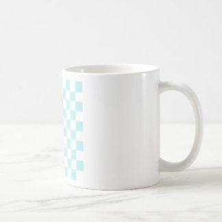 Checkered - White and Pale Blue Coffee Mugs