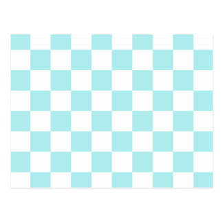 Checkered - White and Pale Blue Postcard