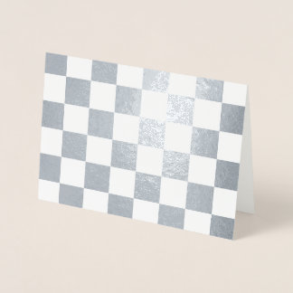 Checkered White and Silver Foil Card