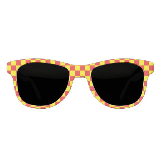Checkered Yellow and Red Sunglasses