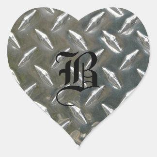 Checkerplate Silver with Monogram Initial Heart Sticker