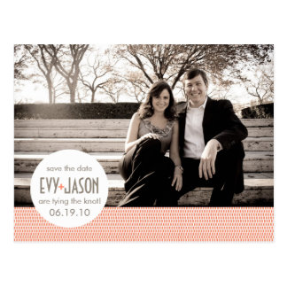 Checkers + Dots- Custom Save the Date - Coral Postcard