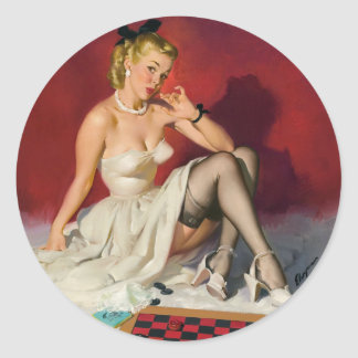 Checkers Pin Up Round Sticker