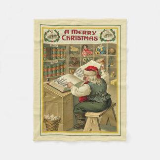 Checking His List Christmas Fleece Blanket