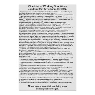 checklist of working conditions poster