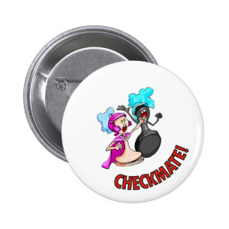 Checkmate! Chess pieces (brainy board game) 6 Cm Round Badge
